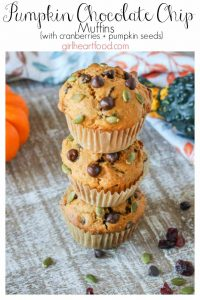 A stack of pumpkin chocolate chip muffins.