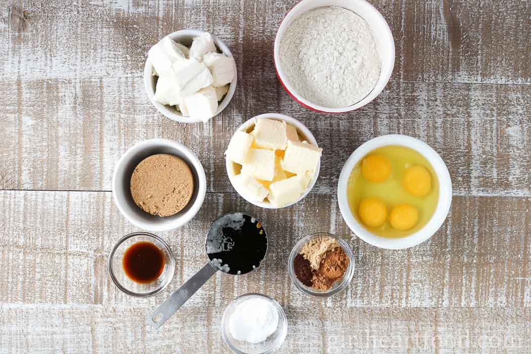 Ingredients for a gingerbread cake recipe.