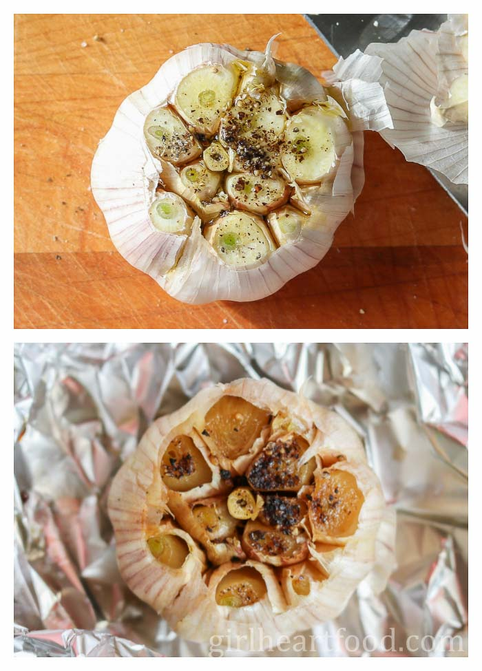 A photo collage of a whole bulb of garlic before and after roasting.