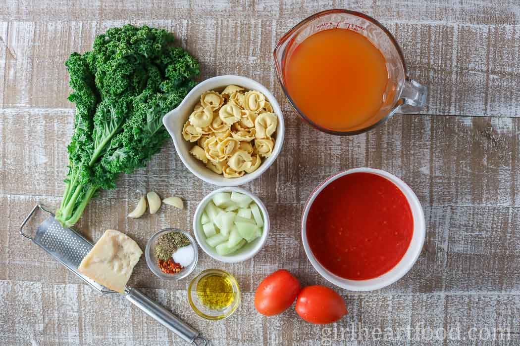 Ingredients for an easy tomato tortellini soup recipe.