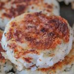 A close up shot of a traditional Newfoundland salt cod fish cake.