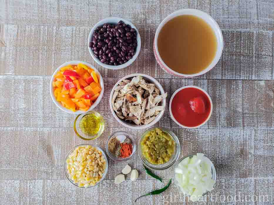 Ingredients for a healthy chicken taco soup recipe.