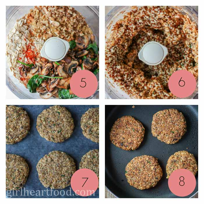 Photo collage of how to make lentil burgers.