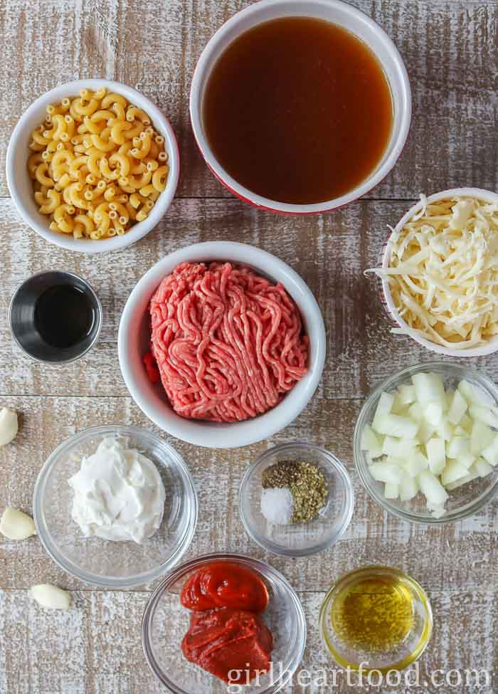 Ingredients for homemade cheeseburger mac and cheese.
