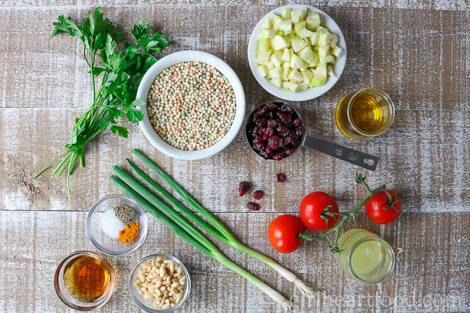 An overhead shot of ingredients for an Israeli couscous salad recipe.