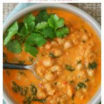 Bowl of curried red lentil chickpea soup with title text and info.