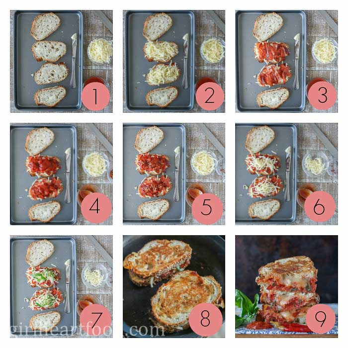 Collage of steps to make a pizza grilled cheese sandwich recipe.