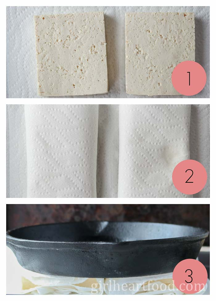 Photo collage of how to press tofu without a press.