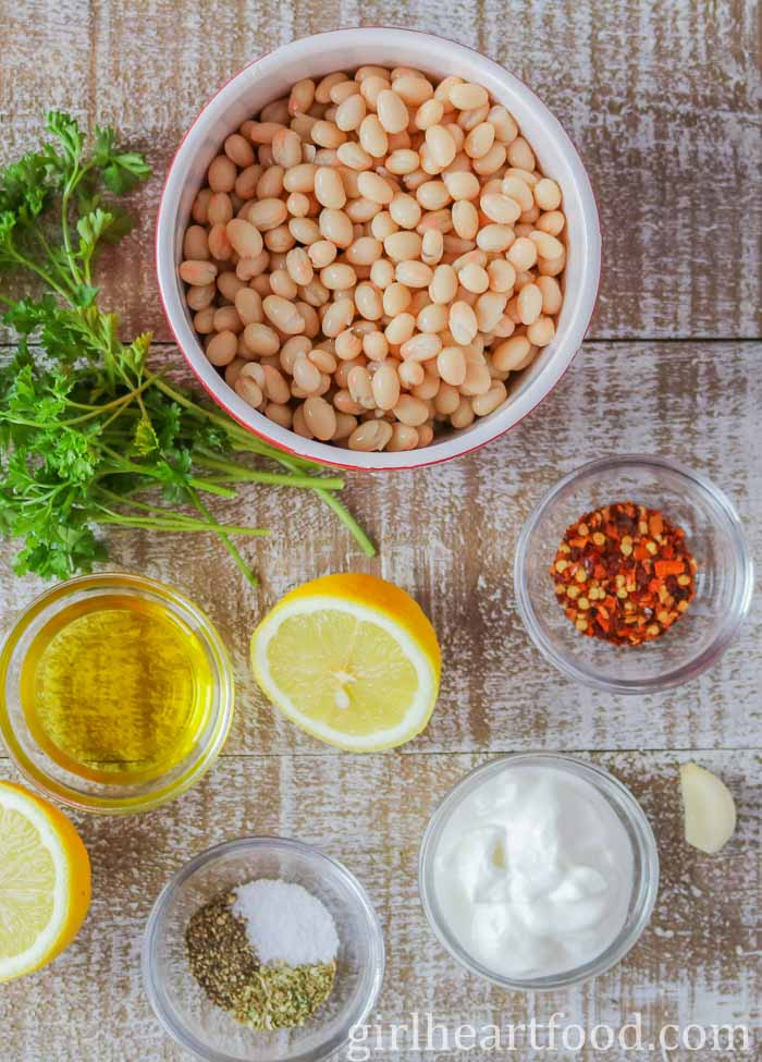 Ingredients for an easy white bean dip recipe.