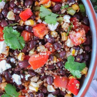Large bowl of Mexican quinoa salad garnished with fresh cilantro.
