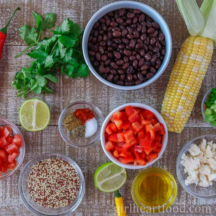 Ingredients for a healthy quinoa salad recipe.