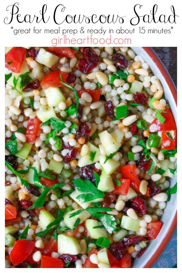 An overhead shot of a bowl of cold couscous salad with text title.