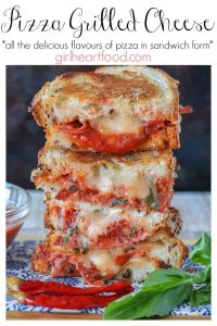 A pizza grilled cheese sandwich stacked high with text title and info.