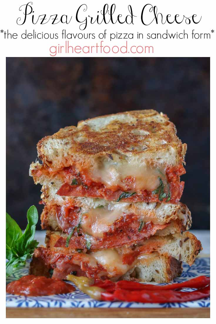 Pizza grilled cheese sandwich stacked high with text title and info.