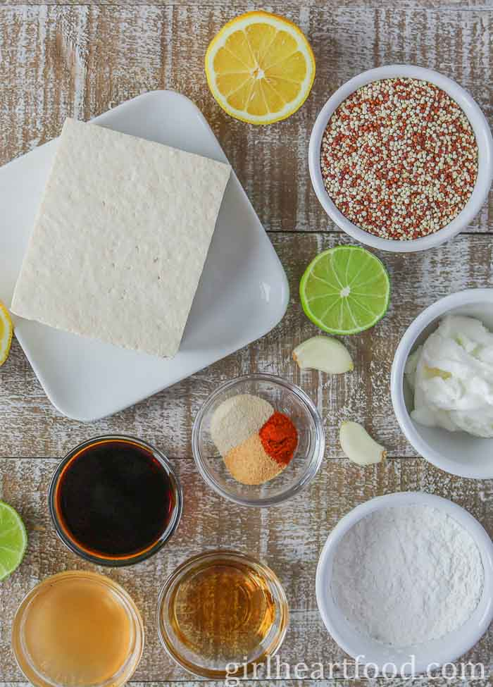 An overhead shot of ingredients for a tofu bowl.