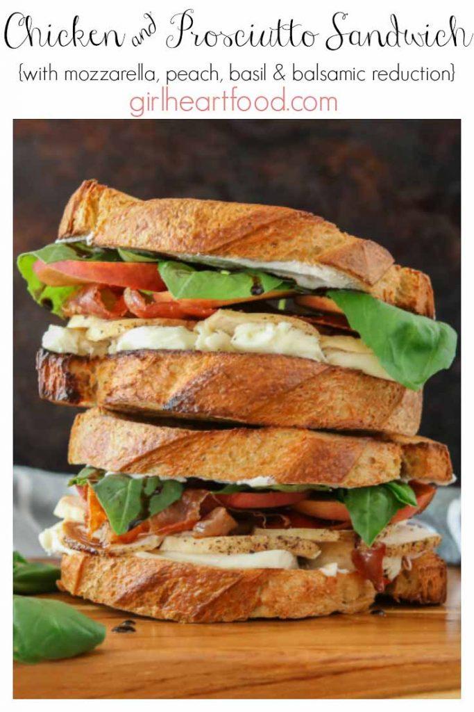 Stack of two prosciutto sandwiches.