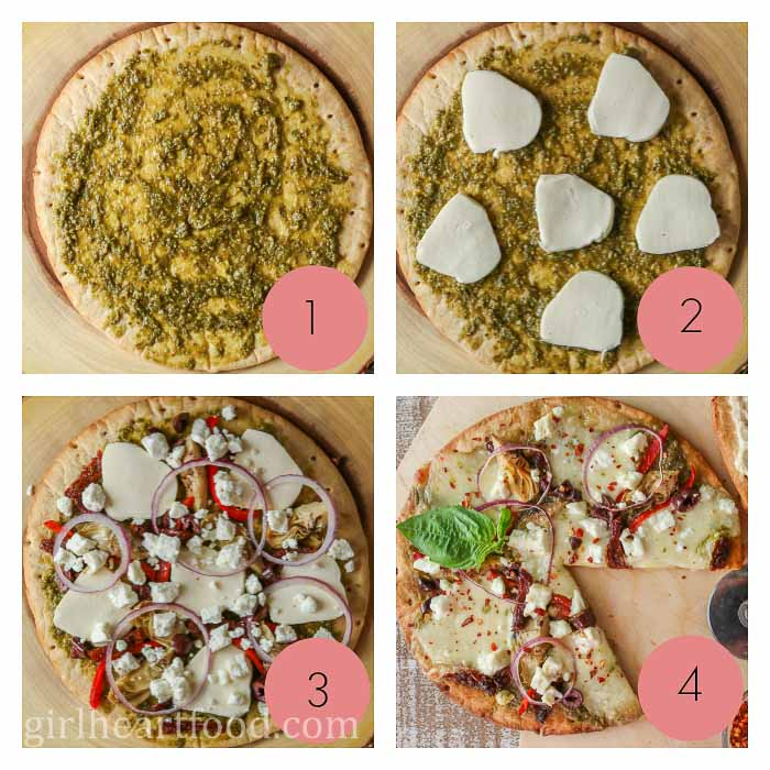 A photo collage of how to make a Mediterranean flavoured pizza.