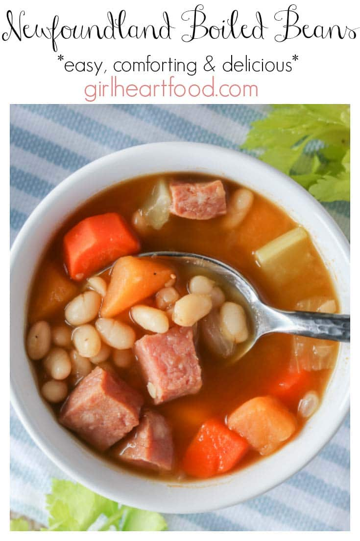 An overhead shot of a bowl of boiled beans, ham and veggies with text title.