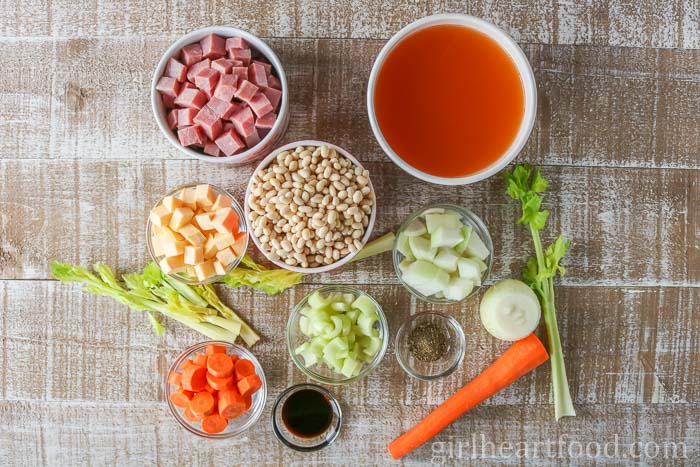 An overhead shot of ingredients for boiled beans recipe.