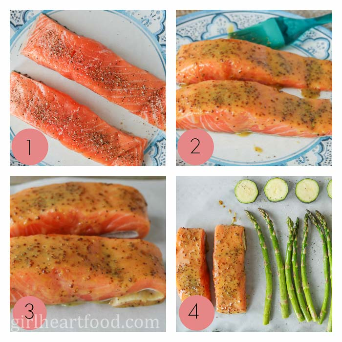 Collage of steps to make sheet pan honey mustard glazed salmon fillets and vegetables.