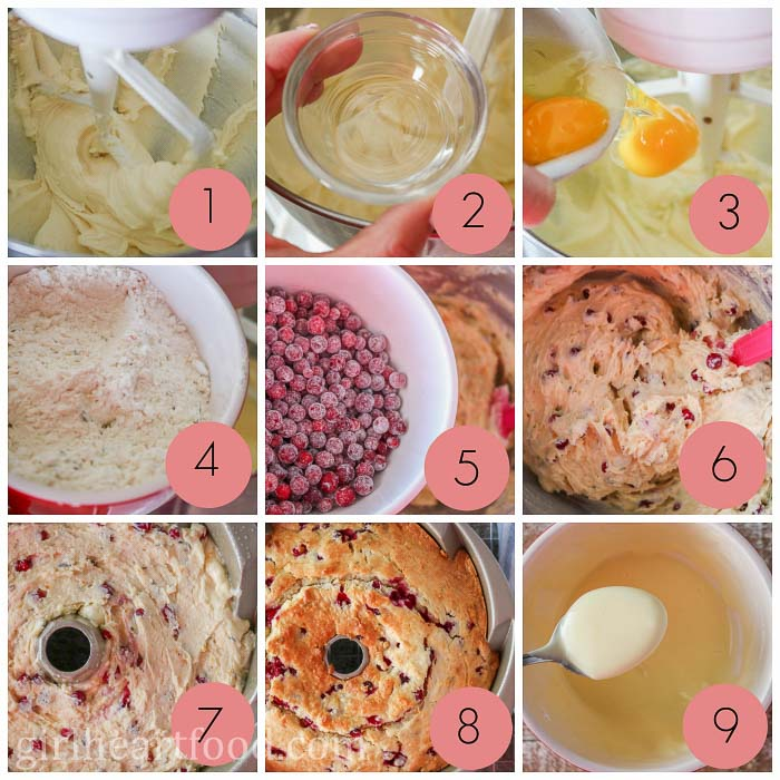 Photo collage of how to make partridgeberry orange cake.
