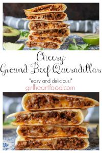 Photo collage of stacks of ground beef and cheese quesadillas.