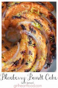 Blueberry bundt cake drizzled with icing sugar glaze and fresh lemon zest.