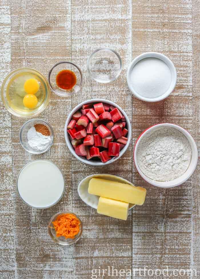 Ingredients for rhubarb upside-down cake.