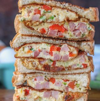 Two western sandwich cut in half and stacked on top of each other.