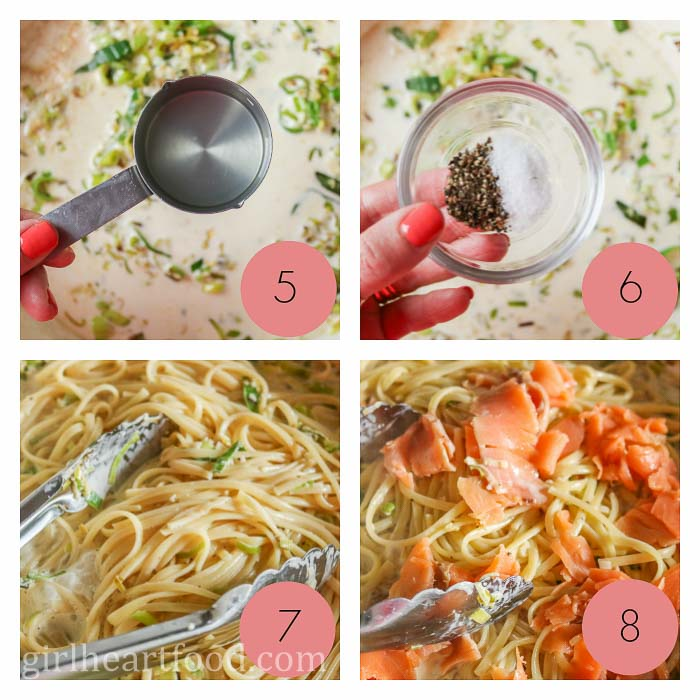 Collage of some steps in making pasta with smoked salmon.