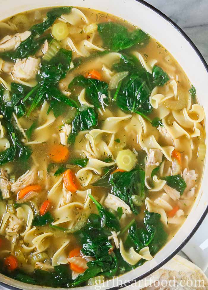 Large pot of homemade chicken noodle soup with egg noodles, spinach, carrots and celery.