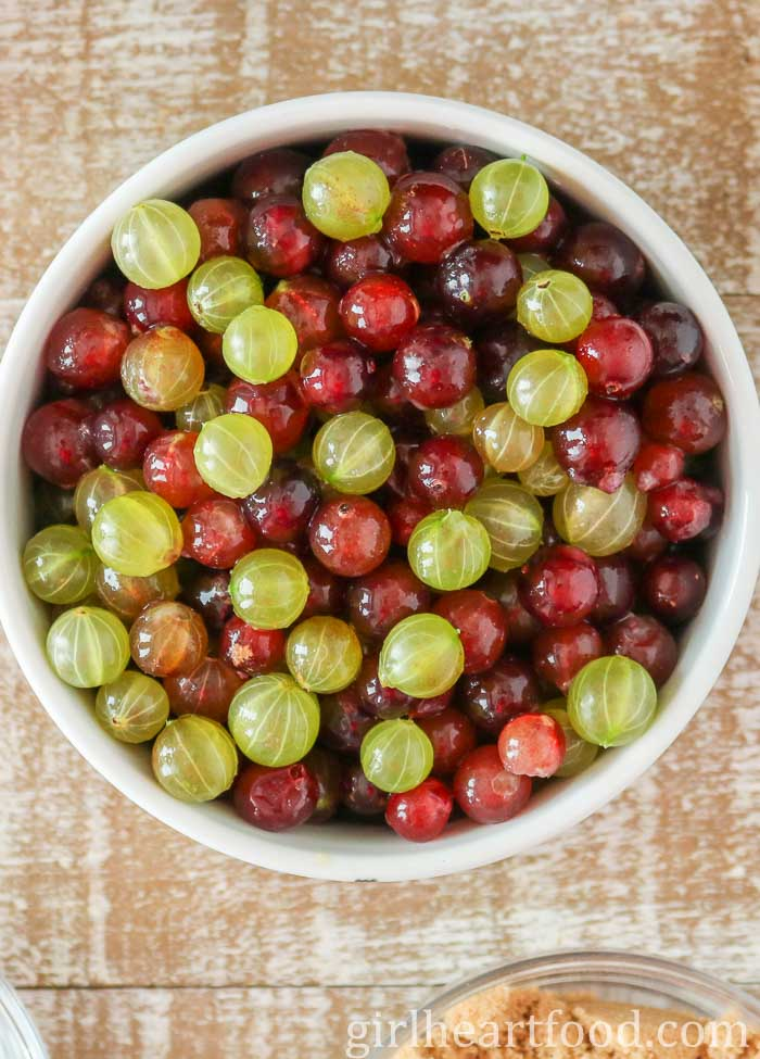 Bowl of fresh gooseberries.