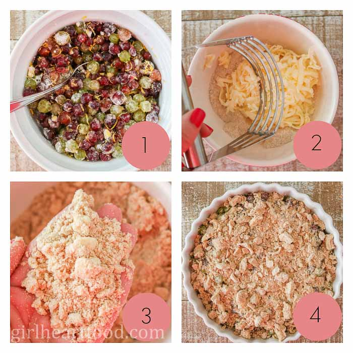 Collage of how to make a crumble dessert.