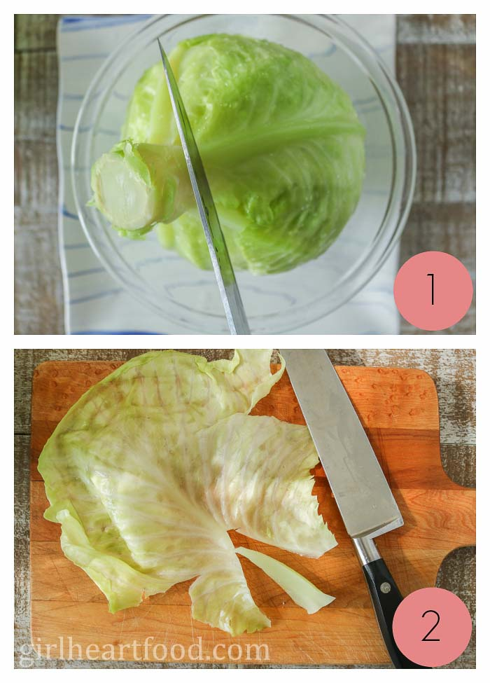 Collage of removing leaves and core from cabbage.