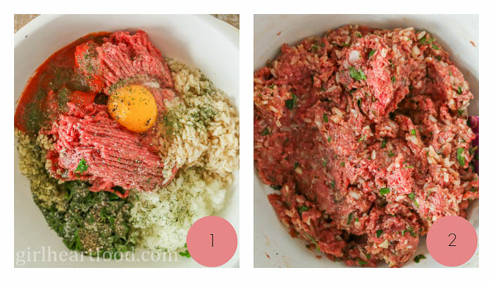 Collage of meat filling for a stuffed cabbage roll recipe.