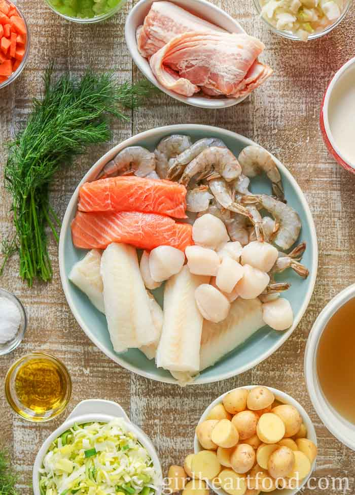Ingredients for a seafood chowder recipe.