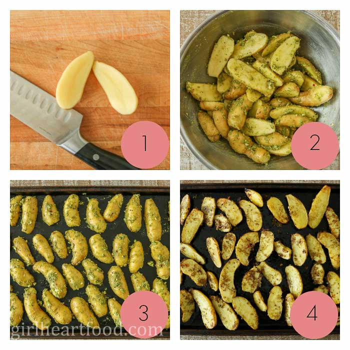 Collage of how to make oven roasted fingerling potatoes with pesto.