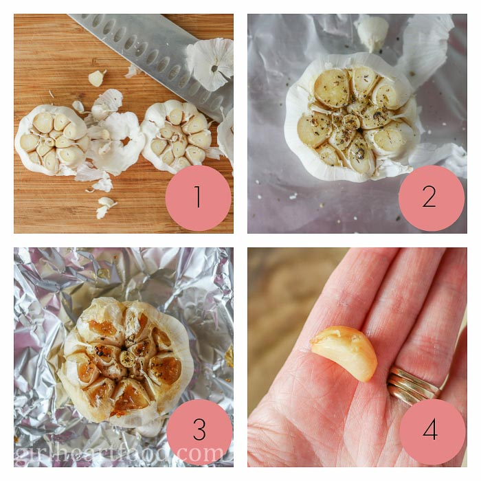 Collage of steps to make roasted garlic.