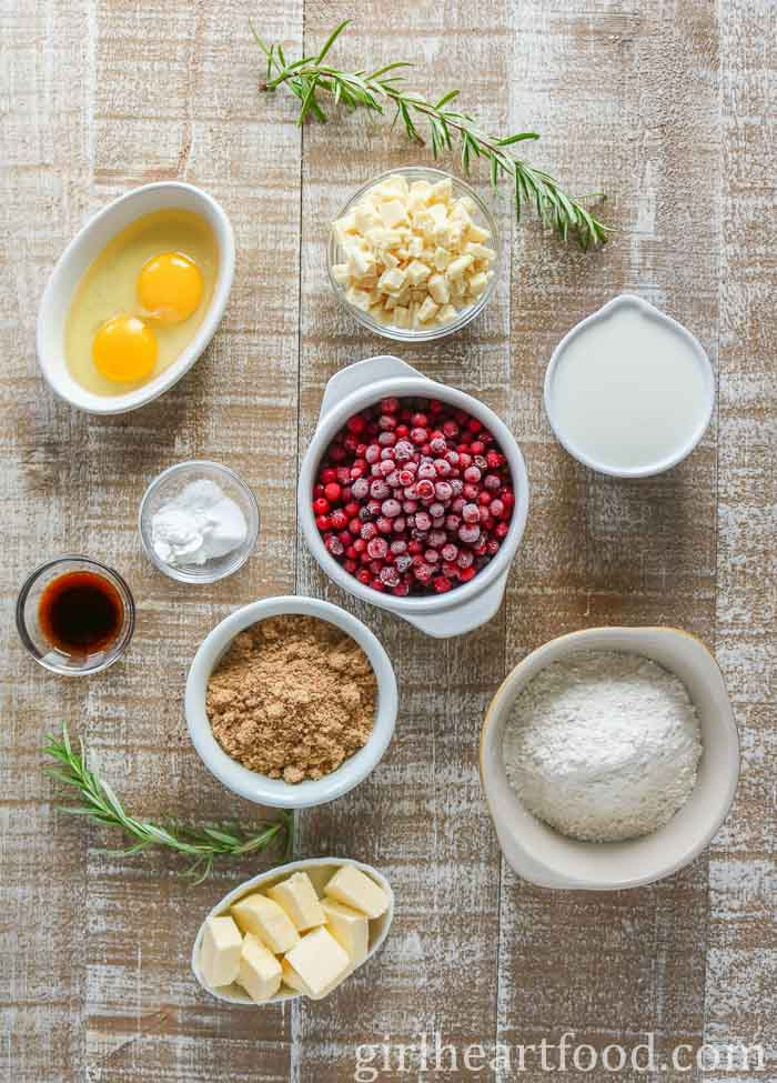 Ingredients for a berry muffin made with partridgeberries.