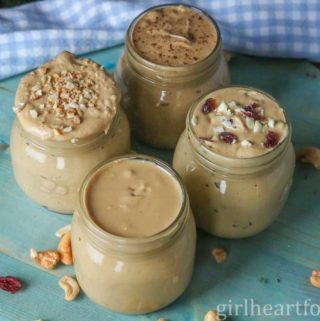 Four jars of homemade cashew butter.