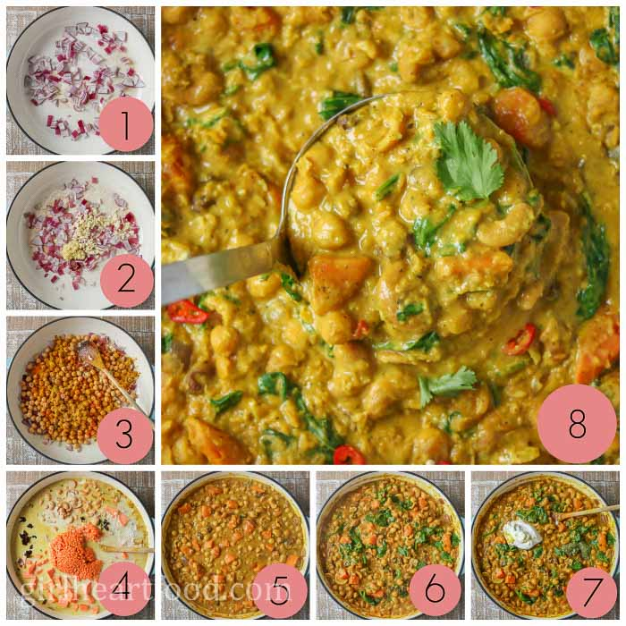 Collage of how to make an easy curry recipe.