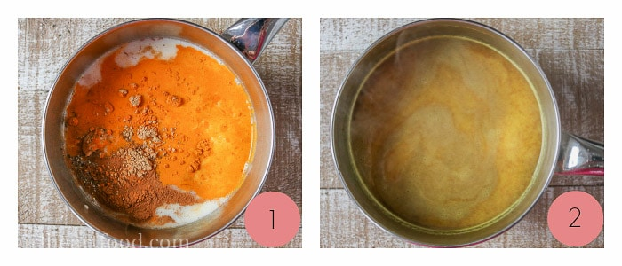 Collage of how to make golden milk.