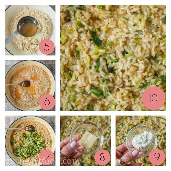 Collage of steps to make creamy risotto with leeks.