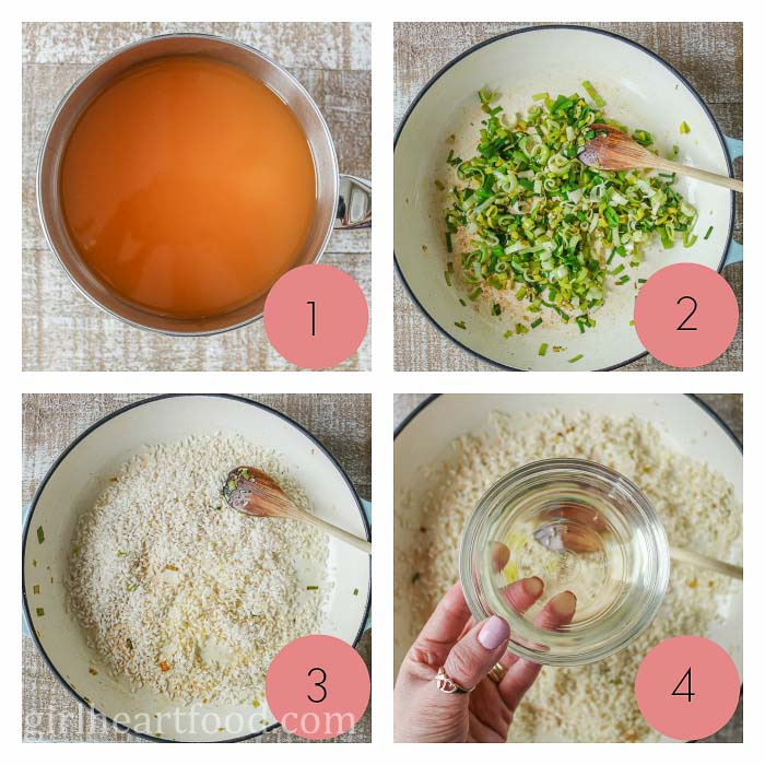 Collage of steps in making a leek risotto recipe.