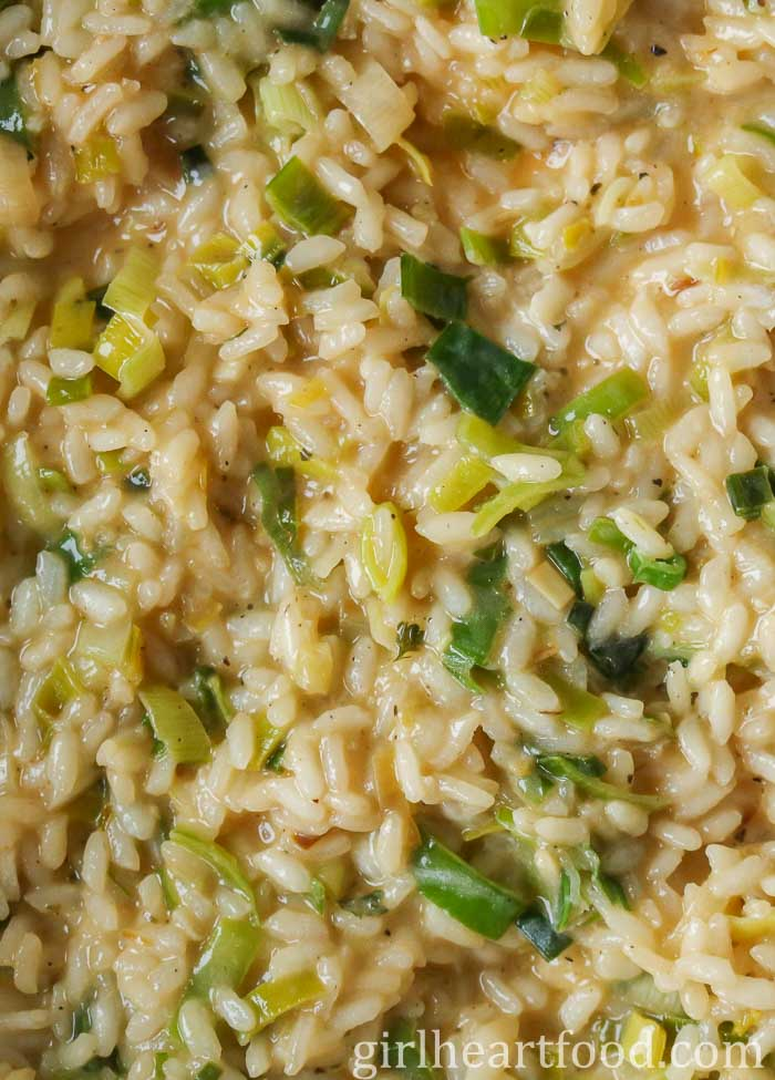 Close up image of creamy leek risotto.