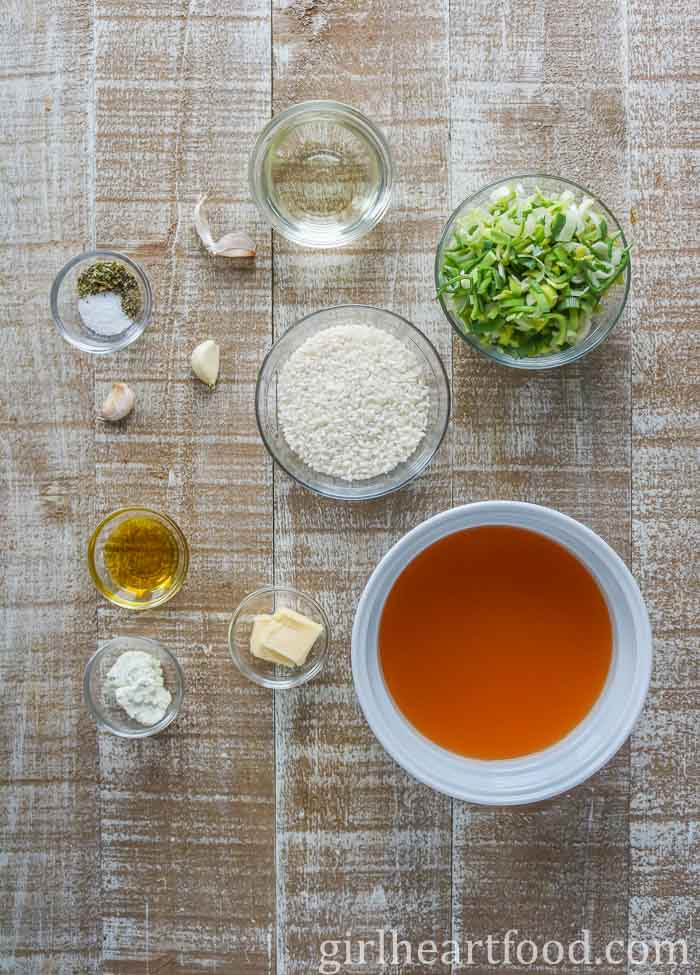 Ingredients for a leek risotto recipe.