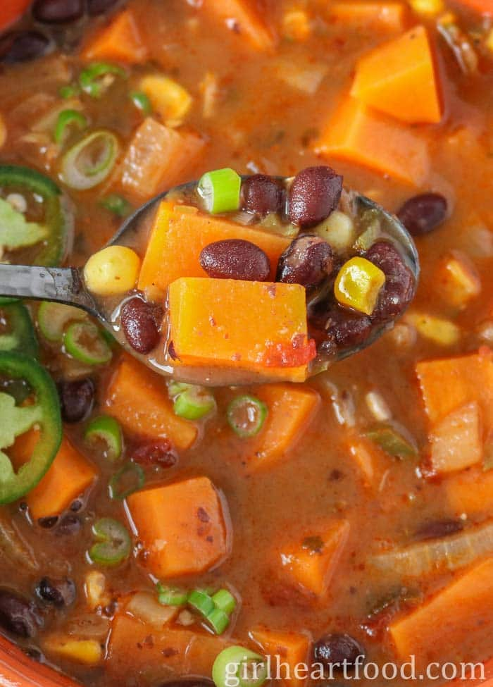 Spoonful of black bean and sweet potato soup.