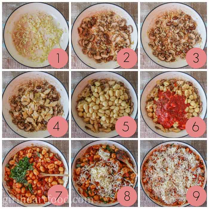 Collage of steps to make a gnocchi casserole.