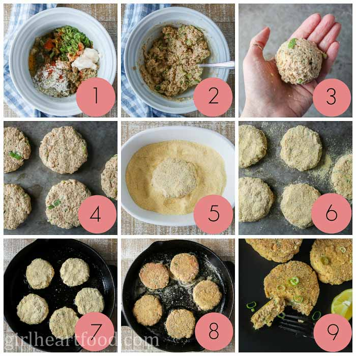 Collage of steps to make salmon cakes using canned salmon.