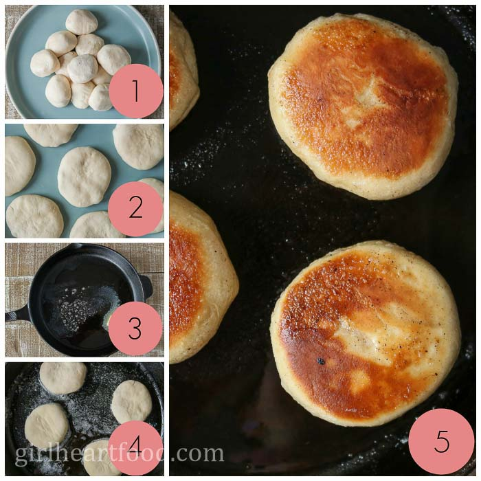 Collage of how to make toutons.